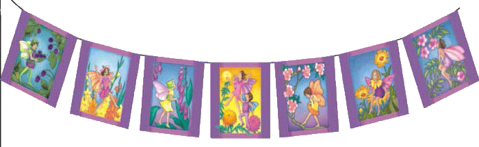 On these Flower Fairy Flags you'll find delightful blosoms, sweet and fragrant. Make a home for enchanting Flower Fairies.