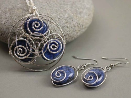 sodalite spiral back w earrings