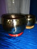 This rare Korean Singing Bowl resonates to the heart chakra. The brass is made of gold, copper and zinc, sustaining the resonance for extended time.