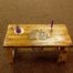 Hand crafted meditation altar table with carved lotus