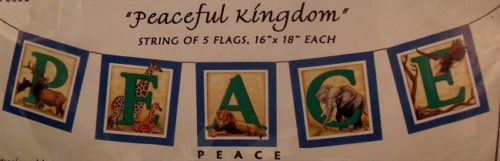 Every creature great and small, living together in a Peaceful Kingom, Beautiful handpainted Peaceful Animal Kingdom flags inspired by Tibetan prayer flags.