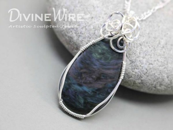 Rainbow obsidian wire wrapped pendant spirals lake chelan rohrrainbow obsidian wire wrapped pendant aloadofball Choice Image