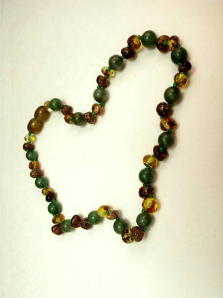 Baltic amber & African Jade Teething Necklace