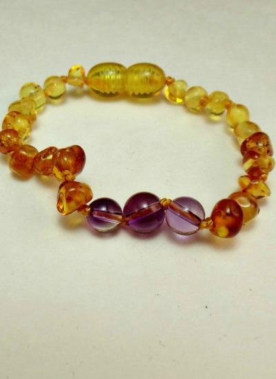 Amethyst And Amber Teething Bracelet