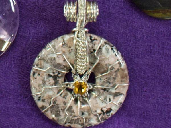 Flower of life egyptian granite w citrine pyramid quantum pendant flower of life granite citrine aloadofball Images